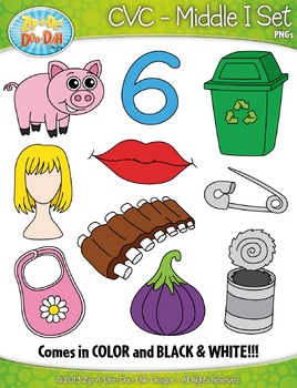 CVC Middle I Words Clipart {Zip-A-Dee-Doo-Dah Designs}