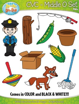 CVC Middle O Words Clipart Set — Includes 20 Graphics!