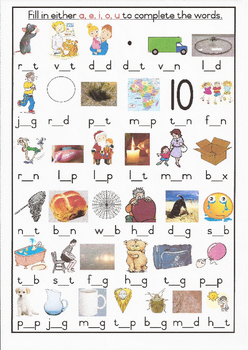 CVC Middle Sound Colour Worksheet 2 Grade 1