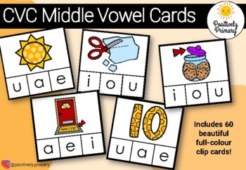 CVC Middle Sound Vowel Clip Cards - Say the Word, Clip the Vowel