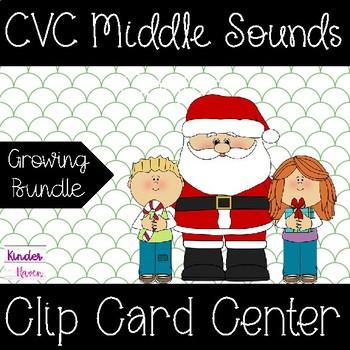 Christmas CVC Middle Sounds Clip Card Center