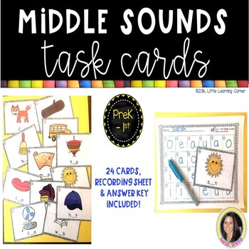 CVC Words ~ Middle Vowel Sounds ~ Task Cards SCOOT