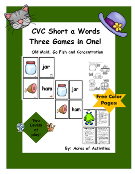 CVC Middle a Card Games: Go Fish, Old Maid and Memory