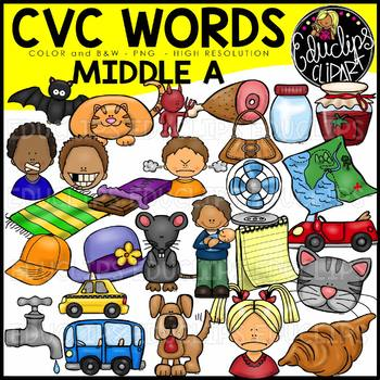CVC Middle a Words Clip Art Bundle {Educlips Clipart}