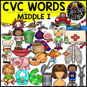 CVC Middle i Words Clip Art Bundle {Educlips Clipart}