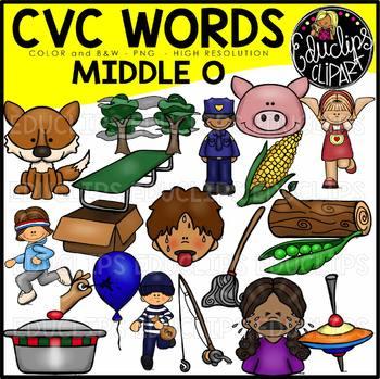 CVC Middle o Words Clip Art Bundle {Educlips Clipart}