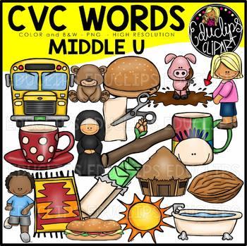 CVC Middle u Words Clip Art Bundle {Educlips Clipart}