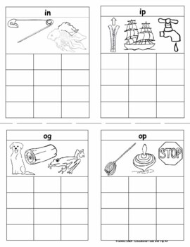 CVC Mini Books and Flash Cards including Rhyming Words COLOR and BW