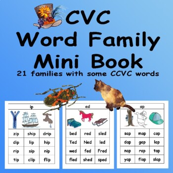 CVC Mini Books and Flash Cards including Rhyming Words BW ONLY