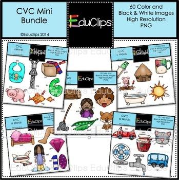 CVC Mini Clip Art Bundle {Educlips Clipart}