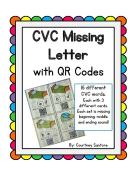 CVC Missing Letter with QR Codes