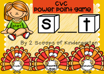 Digital Thanksgiving CVC Missing Middle Vowel Power Point Game