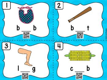 CVC Missing Vowel Task Cards (QR Code Ready)