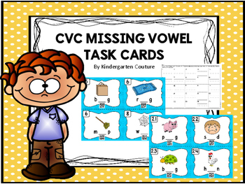 CVC Missing Vowel Task Cards (QR Code Ready)