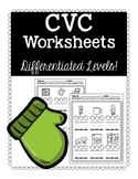 CVC Worksheet Mittens: Differentiated Levels!