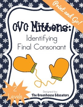 CVC Mittens: Identifying final consonants (2 levels)