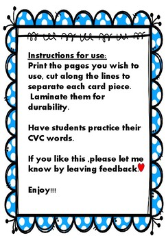 CVC reading  flash cards - BIG SIZE