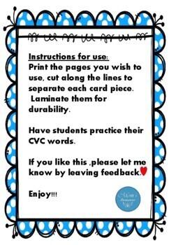 CVC Montessori reading  flash cards