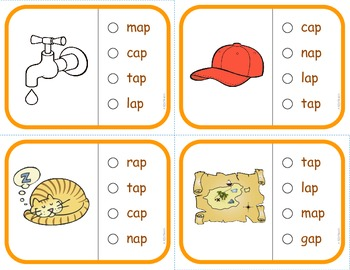"Vocabulary: Phonics Task Cards (CVC Short ""A"")  RF.K.2d"