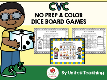 CVC No Prep & Color Dice Board Games