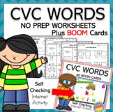 CVC No Prep Worksheets and BOOM Cards Distance Learning Bundle