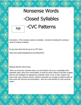 CVC Nonsense Word Flashcards *closed syllables* Decoding Practice