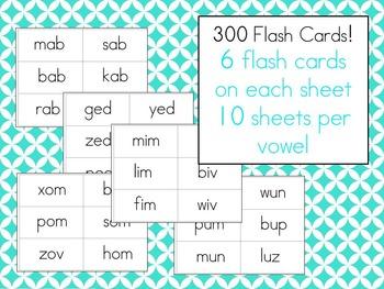 CVC Nonsense Word Fluency Flash Cards