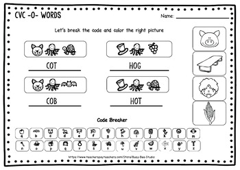 """CVC -O- Worksheets - """" Let's Break the code"""" for Young Learners and ESL Kids"""