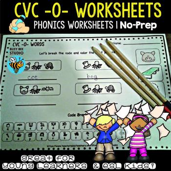 "CVC -O- Worksheets - "" Let's Break the code"" for Young Lea"