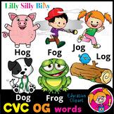 CVC - 'OG' Rhyming words. - B/W & Color clipart  {Lilly Si