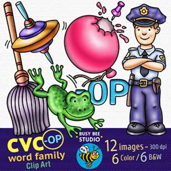 CVC -OP Word Family Clip Art