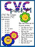 CVC Pack #1 Word Work {8 word families!}