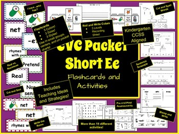 CVC Packet: Short Ee Rhyming Flashcards and Activities