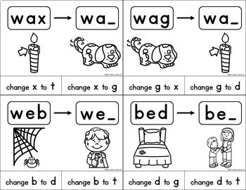 CVC Words Phoneme Substitution Clip Cards Center