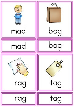 CVC Phonetic  Reading - 3 part cards.