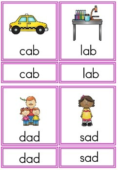 CVC Phonetic  Reading - 3 part cards.