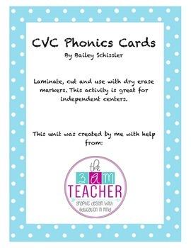 CVC Phonics Cards