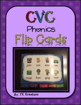 CVC Phonics Fluency Intervention Flip Cards Freebie