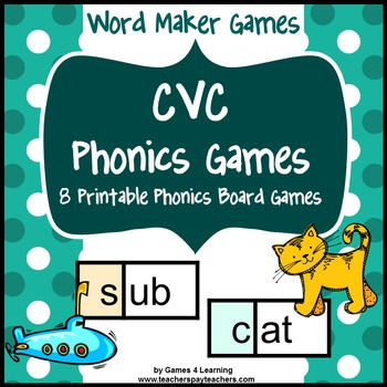 picture relating to Printable Short Vowel Games named Phonics Game titles: CVC Video games: Limited Vowel Video games with CVC Words and phrases