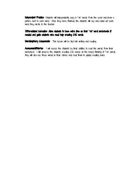 CVC Phonics Lesson Plan