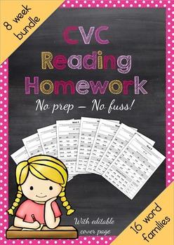 CVC Phonics Reading Homework
