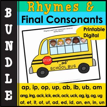 Phonological Awareness Activities Bundle: Final Consonant Deletion & Rhymes