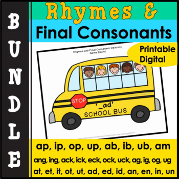 Speech Therapy Picture Activities for Final Consonants & Rhymes Bundle