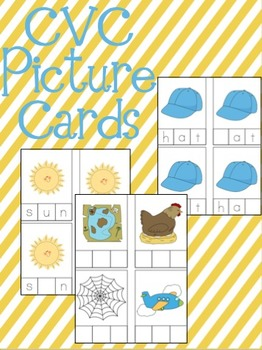 CVC Picture Cards! Sound Segmentation, Sound Isolation, and Blending Practice