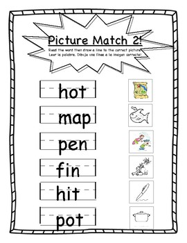 CVC Picture Match and CVC Write Worksheet Bundle