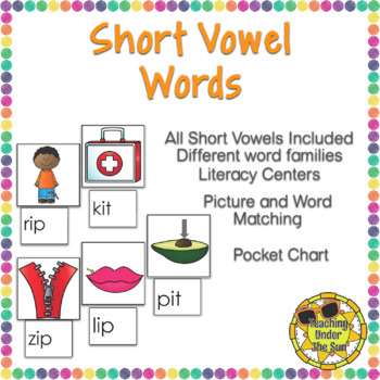 Short Vowel Words, Picture Matching, Centers, CVC, Stations, Phonics, Word Work