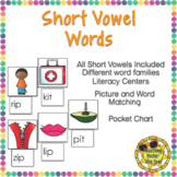Short Vowel Activities Picture Matching Centers CVC Stations Phonics Word Work