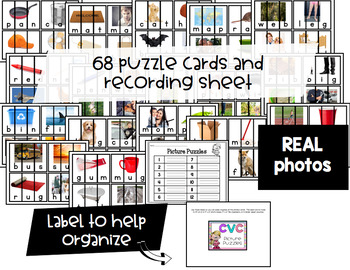 CVC Picture Puzzle Phonics Cards with REAL Photos {Guided Reading Word Work}