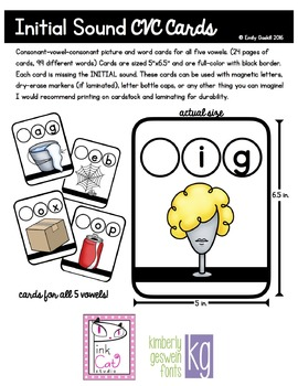 CVC Picture Word Cards Bundle (Initial, Medial, Final Sounds, 5 vowels)
