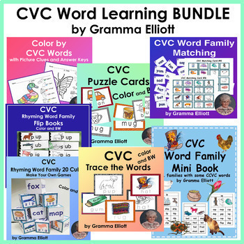 CVC Word Learning Bundle - Color and BW
